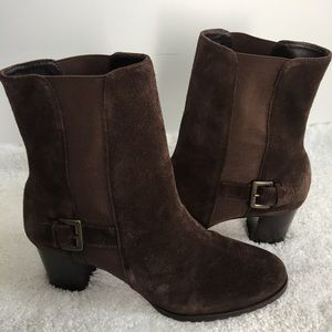 COLE Haan Brown Suede Heels Boots Women's 8 B